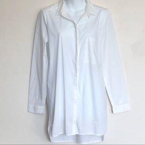 Rafaella White Cotton Blend Shirt Dress Sz M